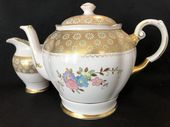 A lovely pink and gilt TUSCAN china teapot & jug
